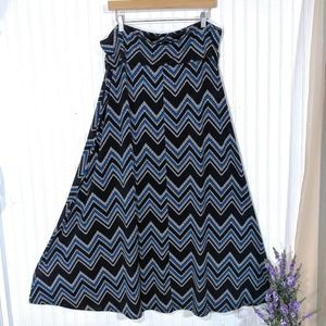 new directions Skirts - New Directions Woman Blue Chevron Maxi Skirt 2X